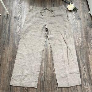 Eskandar 100% Linen Drawstring Waist Trouser Pants